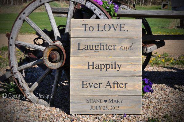 love laughter wedding plank sign