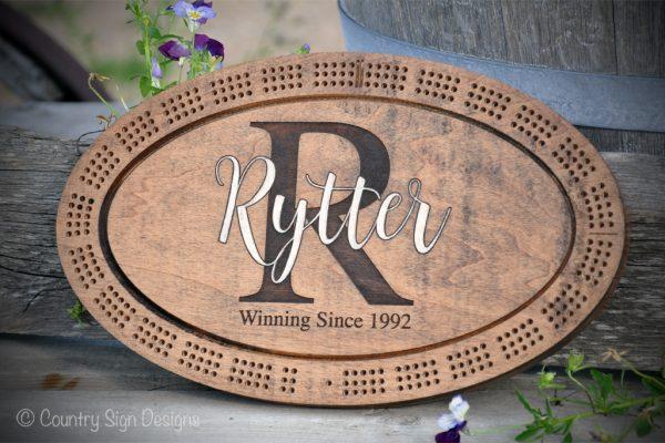 rytter monogram cribbage board