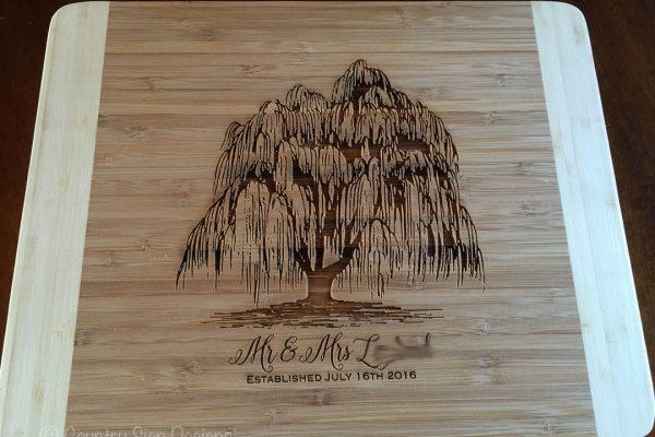 willow tree bamboo cutting board