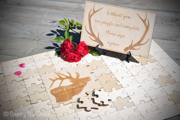 wedding guest book puzzle elk