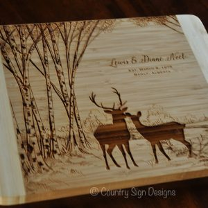 deer birch trees bamboo cutting board