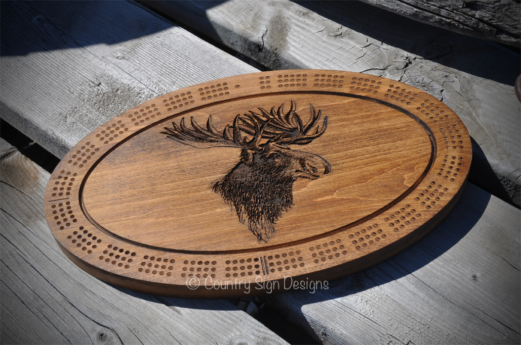 Custom Cribbage Board With Moose