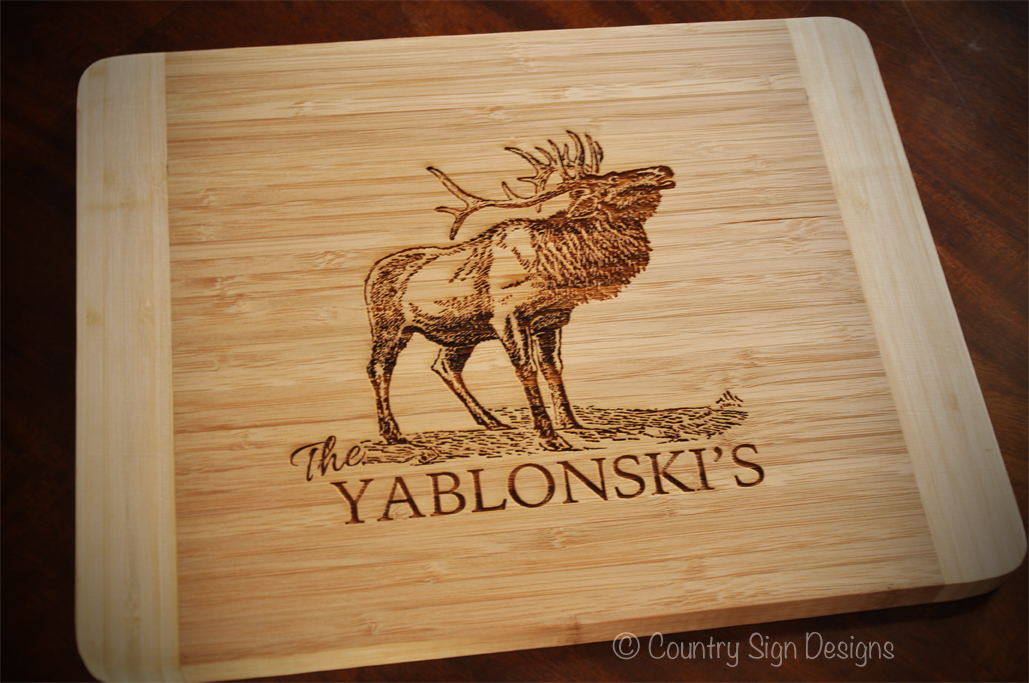Bamboo Cutting Board Personalized Elk